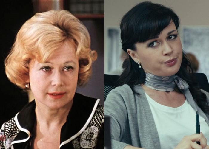 Актёры фильма «Служебный роман» 1977 и 2011 - Светлана Немоляева и Анастасия Заворотнюк