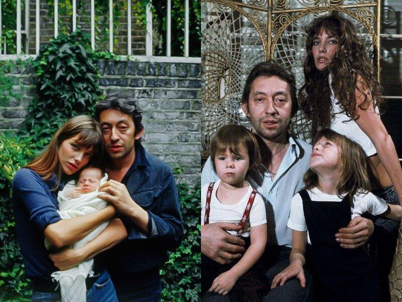 Джейн Биркин и Серж Генсбур - отцовство - с Кейт и Шарлоттой