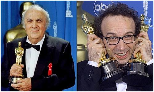 Федерико Феллини и Роберто Бениньи на Оскаре
