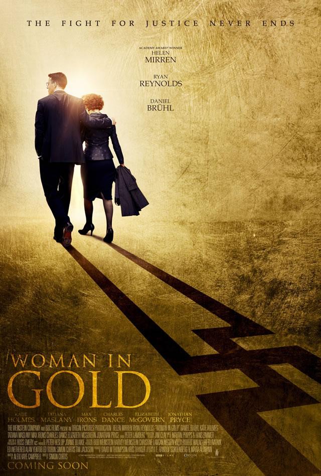 женщина в золотом постер
