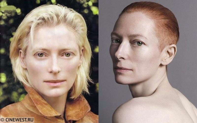Некрасивые женщины-актрисы - Тильда Суинтон - с белыми и рыжими волосами