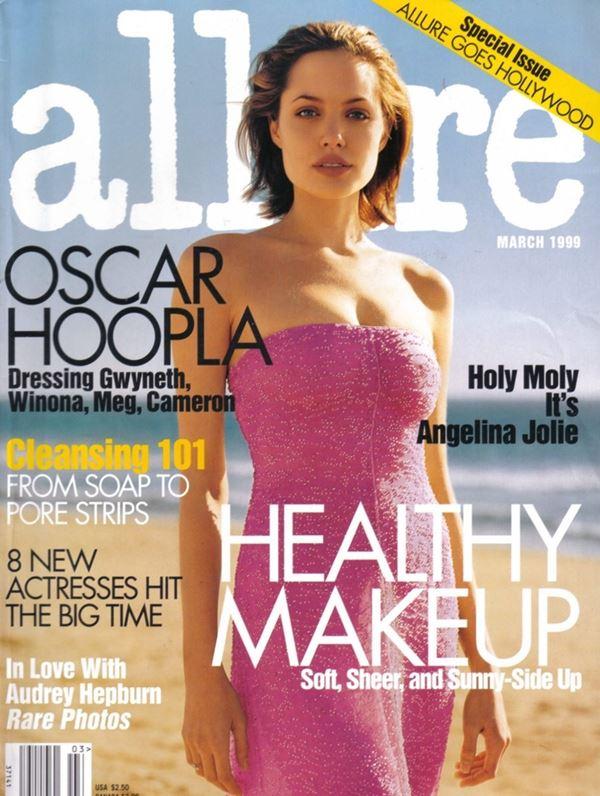 Анджелина Джоли тогда и сейчас: фото обложек - молодая в розовом платье для Allure (март 1999)