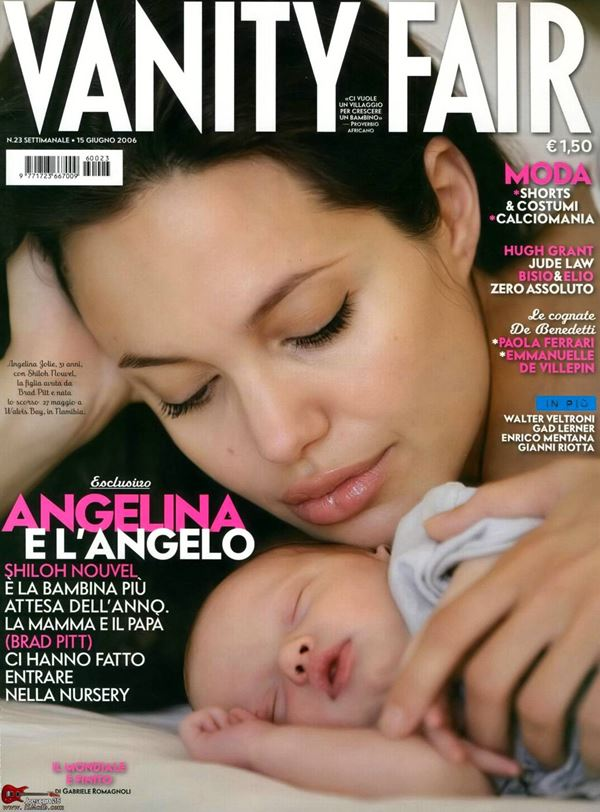 Анджелина Джоли тогда и сейчас: фото обложек - с новорожденной дочерью Шайло для Vanity Fair Italy (июнь 2006)