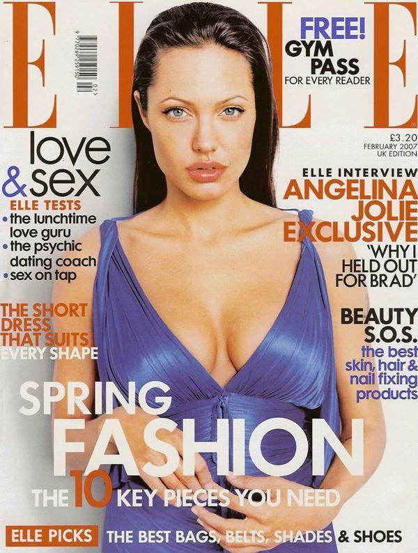 Анджелина Джоли тогда и сейчас: фото обложек - длинные волосы и открытое декольте для Elle UK (февраль 2007)