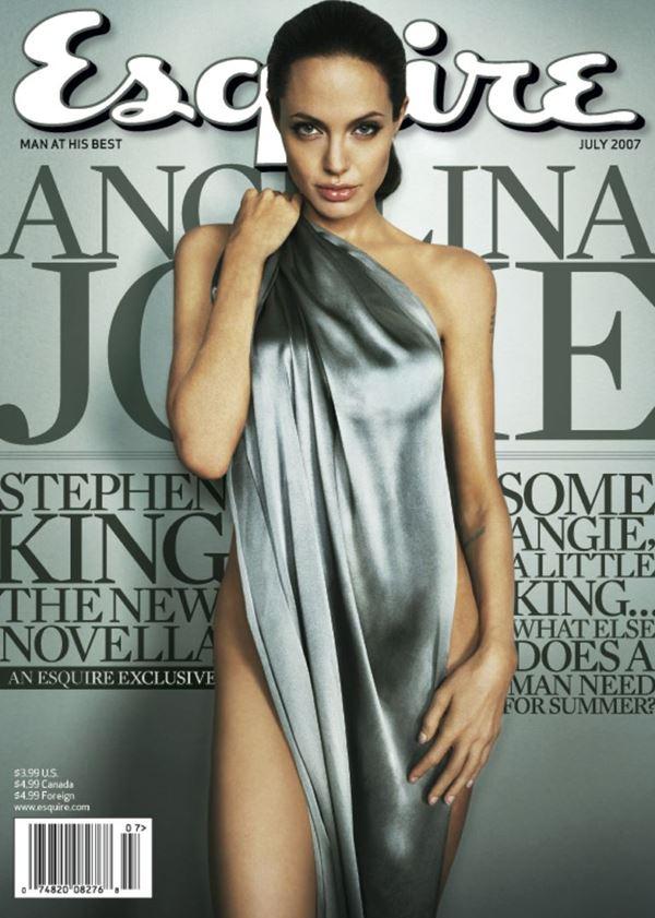 Анджелина Джоли тогда и сейчас: фото обложек - в серебристой тканью на теле для Esquire (июль 2007)