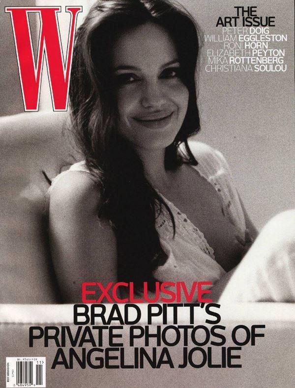 Анджелина Джоли тогда и сейчас: фото обложек - чёрно-белое от Брэда Питта для W Magazine (ноябрь 2008)