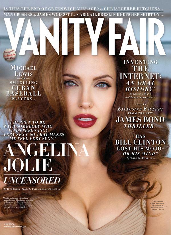 Анджелина Джоли тогда и сейчас: фото обложек - рыжие волосы и красная помада для Vanity Fair (июль 2008)