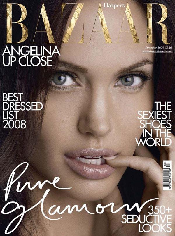 Анджелина Джоли тогда и сейчас: фото обложек - женственный портрет леди для Harper's Bazaar (декабрь 2008)