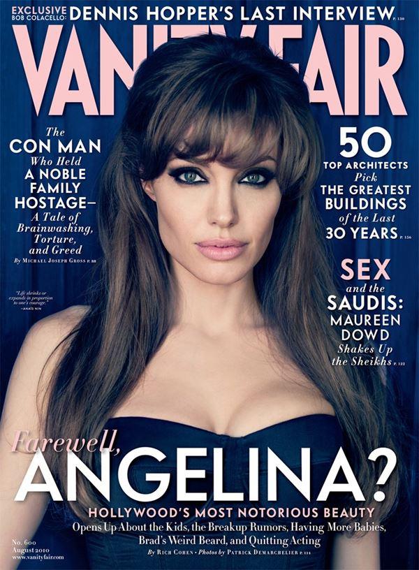 """Анджелина Джоли тогда и сейчас: фото обложек - образ фильма """"Турист"""" для Vanity Fair (август 2010)"""