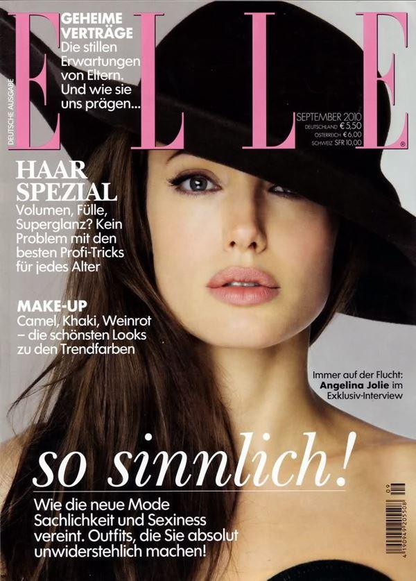 Анджелина Джоли тогда и сейчас: фото обложек - в шляпе для Elle Germany (сентябрь 2010)