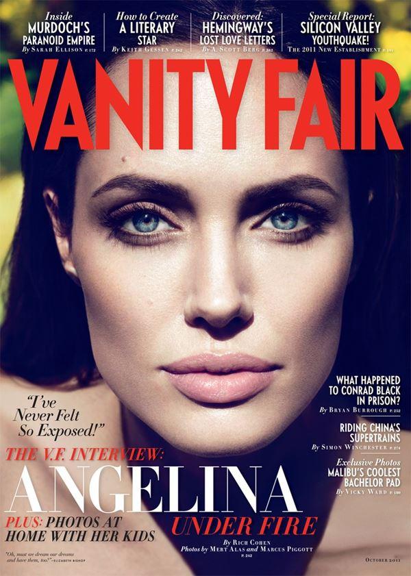 Анджелина Джоли тогда и сейчас: фото обложек - портрет для Vanity Fair (октябрь 2011)