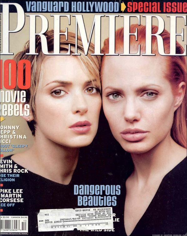 Анджелина Джоли тогда и сейчас: фото обложек - с Вайноной Райдер для Premiere (октябрь 1999)