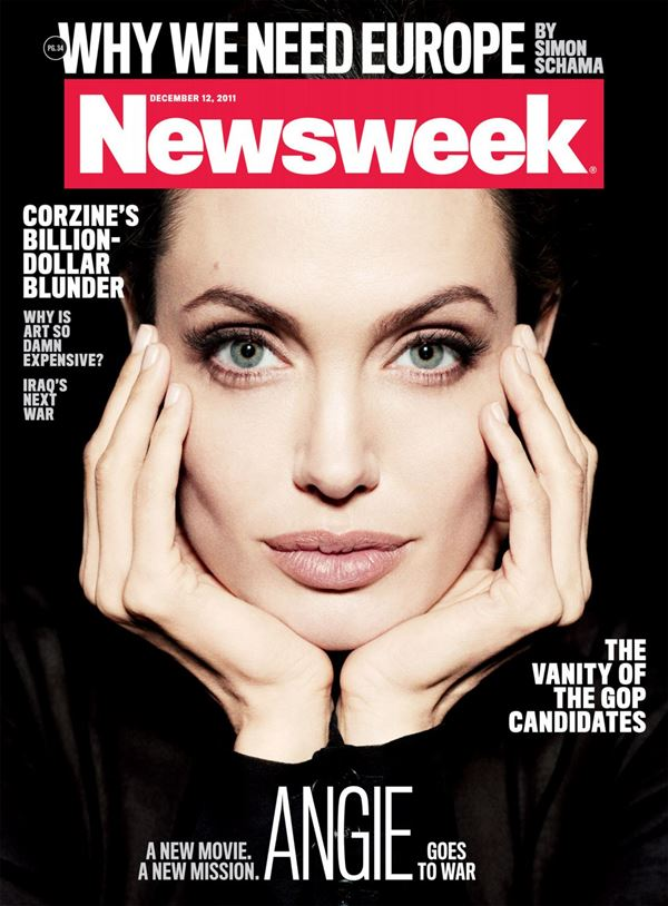 Анджелина Джоли тогда и сейчас: фото обложек - красивый портрет для Newsweek (декабрь 2011)