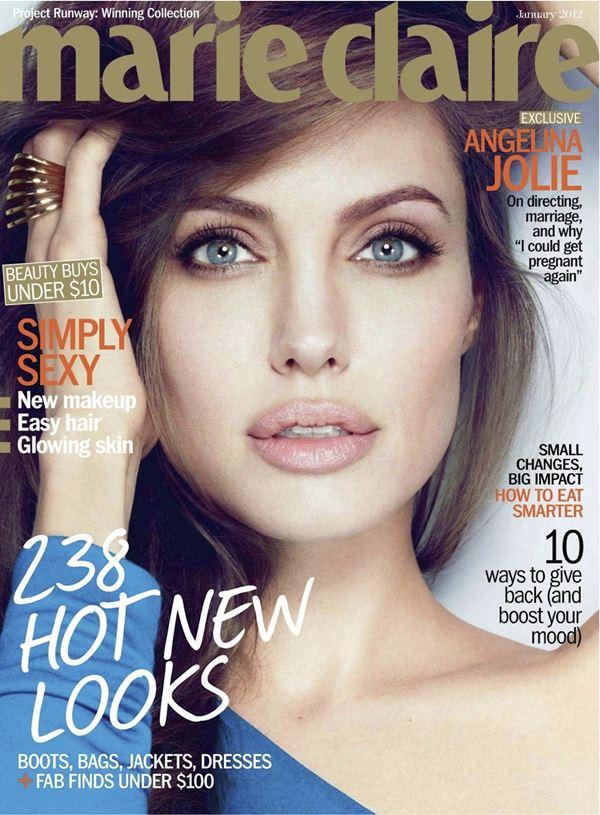 Анджелина Джоли тогда и сейчас: фото обложек - нежный портрет для Marie Claire (январь 2012)