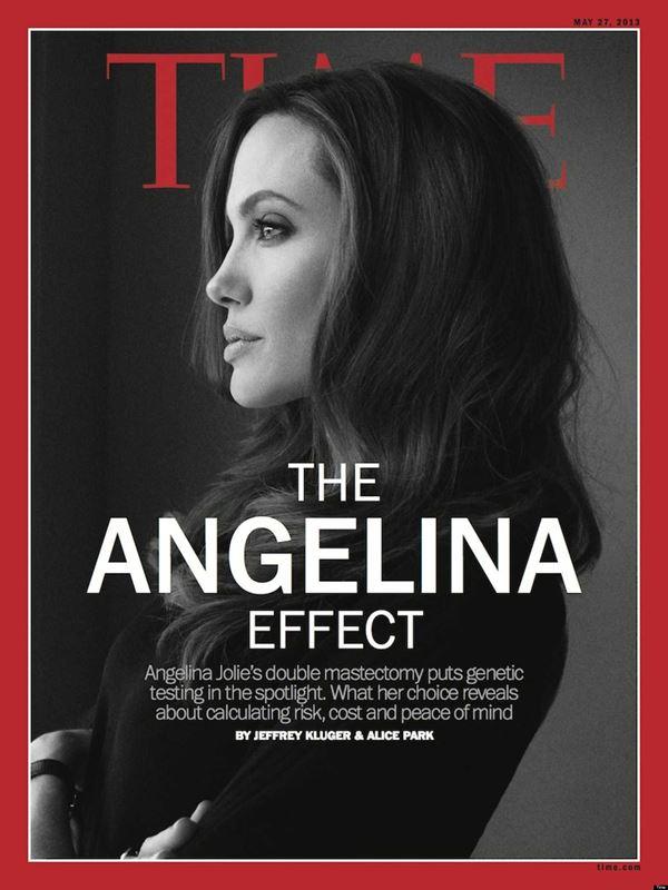 Анджелина Джоли тогда и сейчас: фото обложек - чёрно-белый профиль для Time (май 2013)