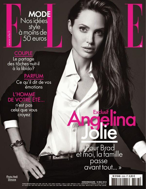 Анджелина Джоли тогда и сейчас: фото обложек - в брючном костюме для Elle France (май 2014)