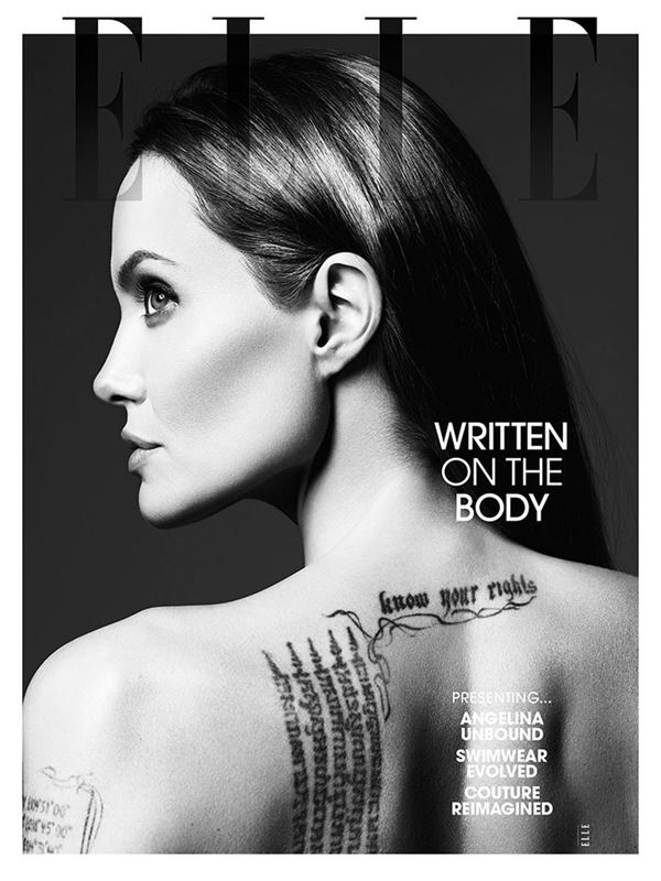 Анджелина Джоли тогда и сейчас: фото обложек - с татуировками на спине для Elle US (июнь 2014)