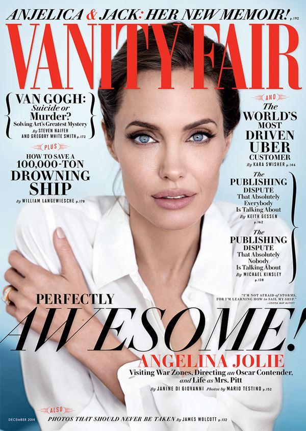 Анджелина Джоли тогда и сейчас: фото обложек - в белой блузке для Vanity Fair (декабрь 2014)