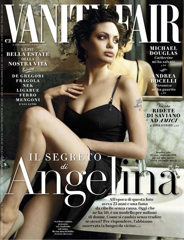 Анджелина Джоли тогда и сейчас: фото обложек - молодая с короткой стрижкой для Vanity Fair Italia (июнь 2015)