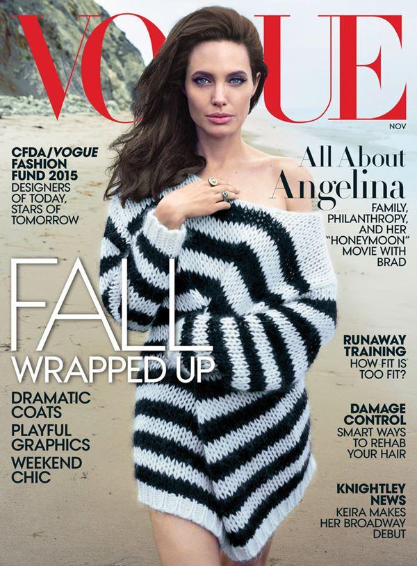 Анджелина Джоли тогда и сейчас: фото обложек - в полосатом свитере для Vogue US (ноябрь 2015)