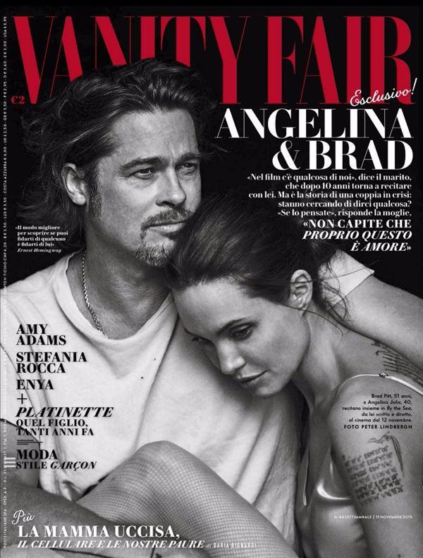 Анджелина Джоли тогда и сейчас: фото обложек - чёрно-белое с Брэдом Питтом для Vanity Fair Italy (ноябрь 2015)