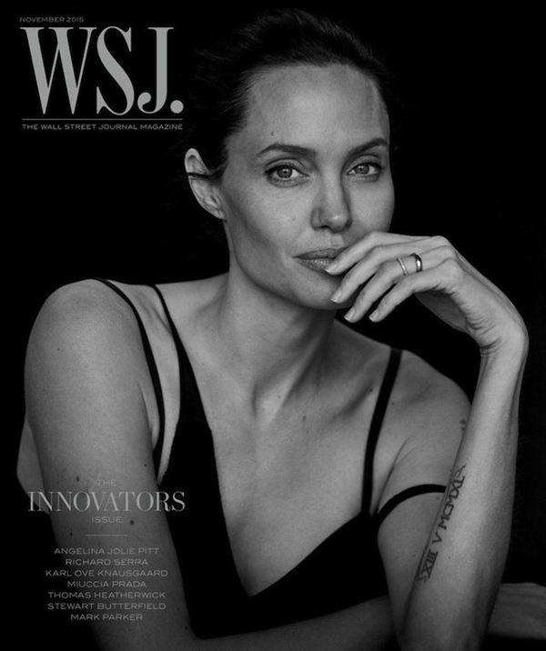 Анджелина Джоли тогда и сейчас: фото обложек - очень худая для Wall Street Journal (ноябрь 2015)