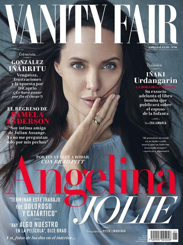 Анджелина Джоли тогда и сейчас: фото обложек - с длинными чёрными волосами для Vanity Fair Mexico (февраль 2016)