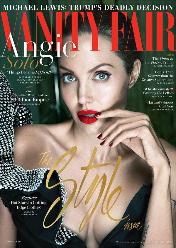 Анджелина Джоли тогда и сейчас: фото обложек - зелёные глаза и красные губы для Vanity Fair (сентябрь 2017)
