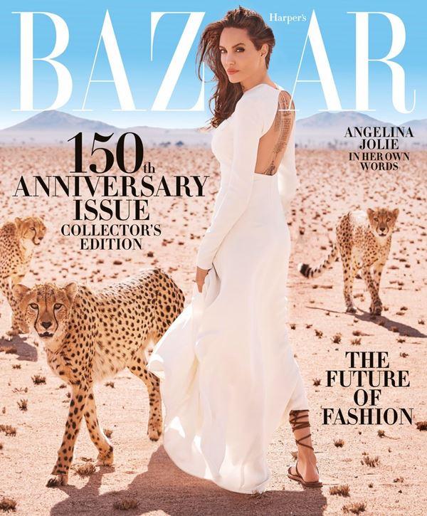 Анджелина Джоли тогда и сейчас: фото обложек - в белом платье с с леопардами для Harper's Bazaar (ноябрь 2017)