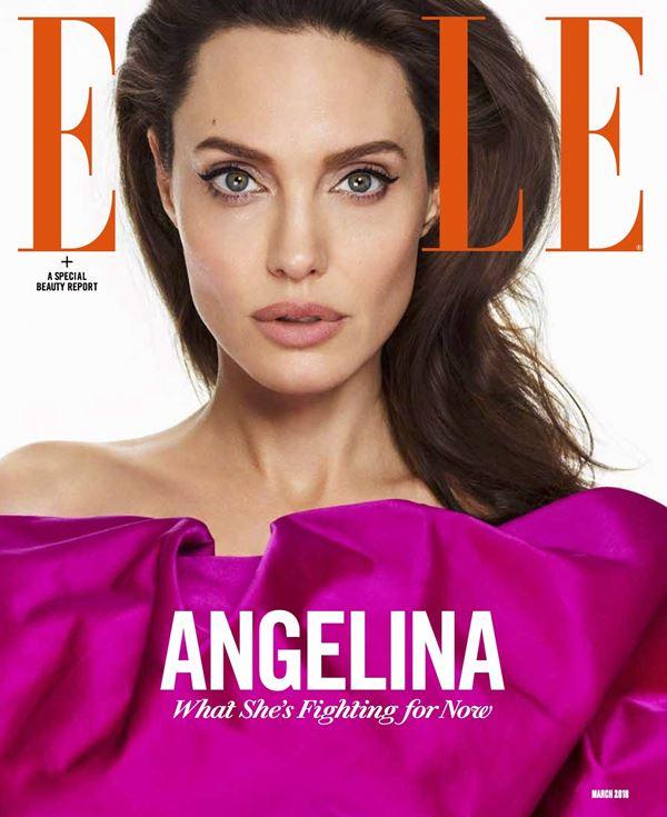 Анджелина Джоли тогда и сейчас: фото обложек - оттенок фуксия для Elle US (март 2018)