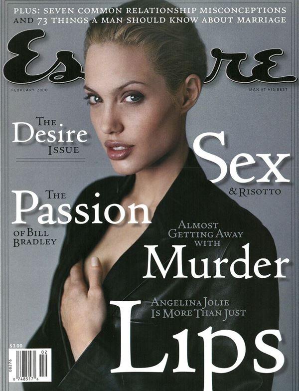 Анджелина Джоли тогда и сейчас: фото обложек - блондинка в чёрной коже для Esquire (февраль 2000)