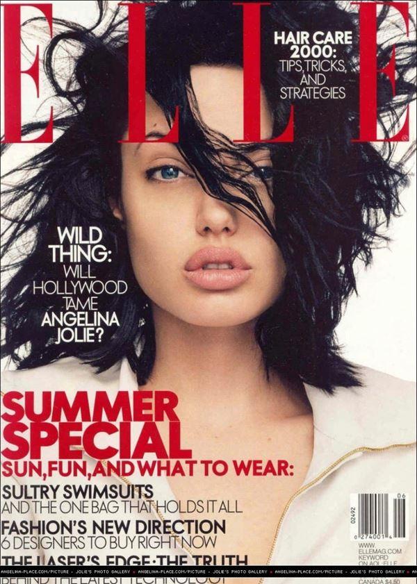 Анджелина Джоли тогда и сейчас: фото обложек - с короткой стрижкой и чёрными волосами для Elle (июнь 2000)