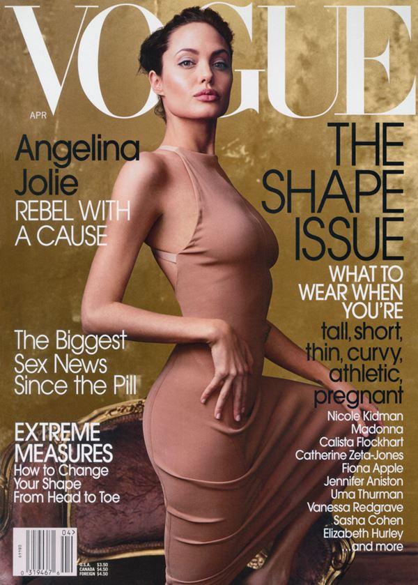 Анджелина Джоли тогда и сейчас: фото обложек - в облегающем бежевом платье для Vogue US (апрель 2002)