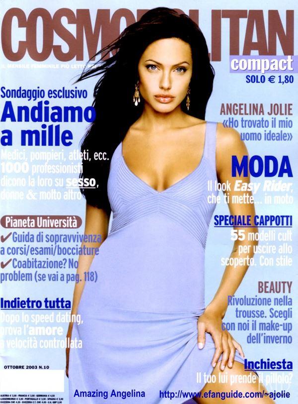 Анджелина Джоли тогда и сейчас: фото обложек - в сиреневом платье с чёрными волосами для Cosmopolitan Italy (октябрь 2003)